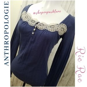 Anthro Ric Rac Blue Lace Trim Pointelle Henley, XS